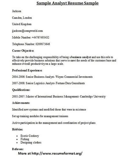 Different Resume Formats by For Different Types Of Analyst Resume Formats Visit Www