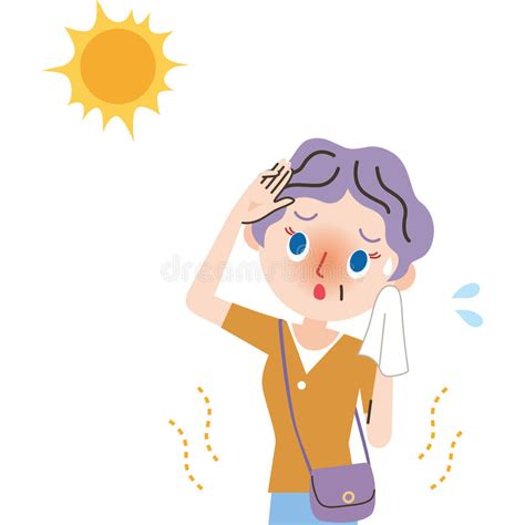 Heat Exhaustion Grandmother. Stock Vector - Illustration ...