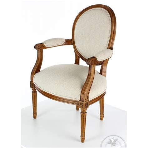fauteuil louis xvi en bois massif moulur 233 et tissu beige