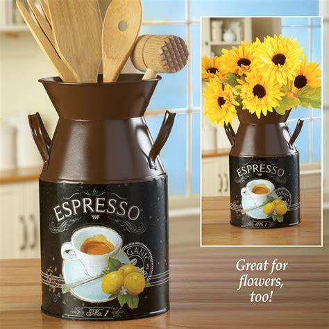 coffee themed espresso milk canister utensil flower holder