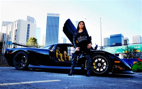 Wallpaper Mosler Raptor Gtr Black Supercar With Girl