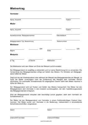 Mietvertrag Für Gegenstände Oder Sachen (pdf) Vorlage