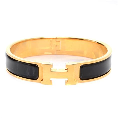hermes enamel narrow clic clac h bracelet pm noir black gold plated 47311