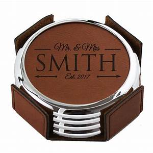 Custom, Engraved, Leather, Drink, Coasters