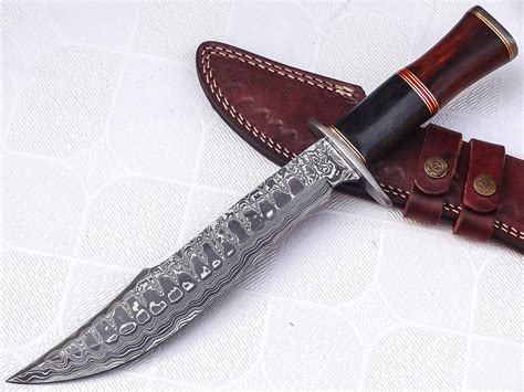 Damascus Hunter Bowie Knife With Free Leather Cover