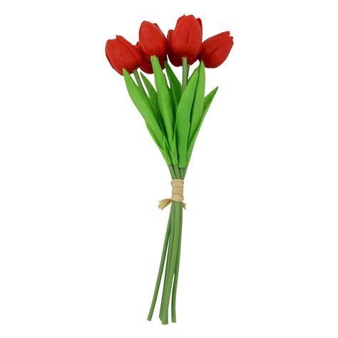 fiori artificiali real touch bundle of 6 real touch tulips artificial flower stems
