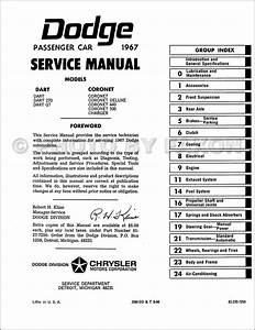 1967 Dodge Charger  Coronet   U0026 Dart Repair Shop Manual Reprint
