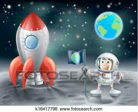 Clip Art of Cartoon astronaut and vintage space rocket on ...