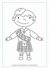 Scottish Coloring Pages Colouring Boy Scotland St Map Terrier Standing Printable Drawing Andrews Andrew Haggis Flag Boys Burns Activities Colour sketch template