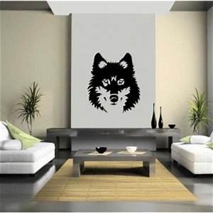 Tete Animaux Deco : stickers mural animaux foret deco loup t te ~ Teatrodelosmanantiales.com Idées de Décoration