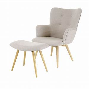 Fauteuil et repose pieds beige stock inwood absolument for Fauteuil design beige