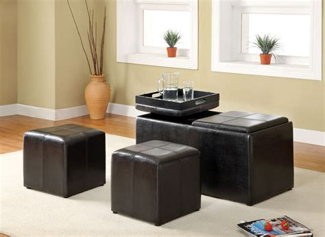 living room with ottoman maximizing small living room spaces using black leather