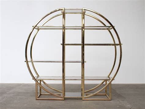 Architectural Circular Brass Etagere In The Style Of Milo