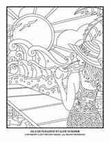 Coloring Pages Summer Adult Paradise Jade Island Books Sheets sketch template