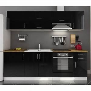 idee meuble de cuisine noir laque With idee meuble de cuisine