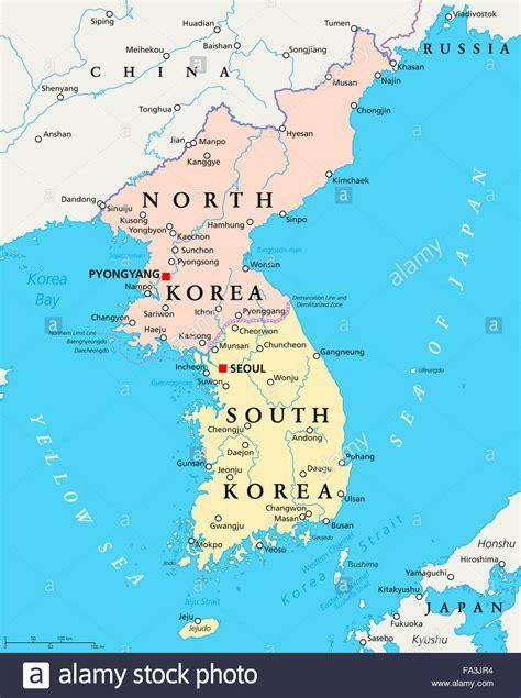 north korea south korea political map  capitals