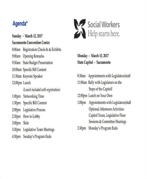 work agenda examples samples   examples