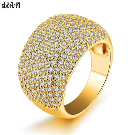 crystals from swarovski fashion gold color wedding rings for shiny full cubic zirconia