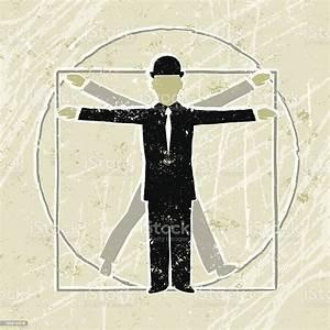 Vitruvian Business Man Diagram Showing Proportion Stock