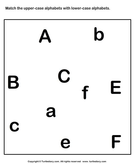 Match Uppercase To Its Lowercase Letter A To F Worksheet  Turtle Diary
