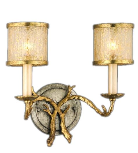 gold vanity light fixtures parc royale collection 2 light 13 quot gold and silver leaf
