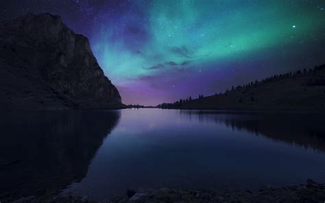 Wallpaper Aurora Sky, Lake, Bannalpsee, Nightfall, Hd, 4k