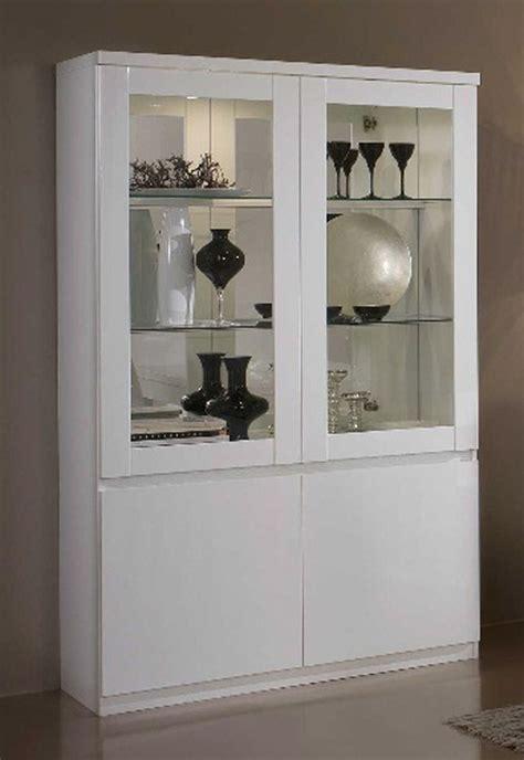 vitrine cuisine vitrine 2 portes roma laqué blanc