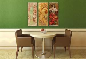 Glasbild 3 Teilig : mucha 3 teilig elegante motive auf glas wall ~ Orissabook.com Haus und Dekorationen