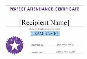 Perfect Attendance Certificate Template Good Attendance Certificate Template Gallery Certificate Design And Template