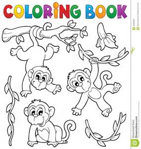 coloring book monkey theme 1 stock vector image 40082056