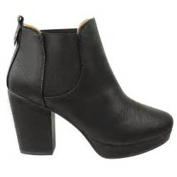 womens chelsea boots nz womens mid high heel block platform ankle low chelsea boots shoes size ebay
