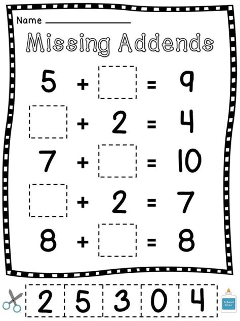 Missing Addends Cut And Paste Worksheets