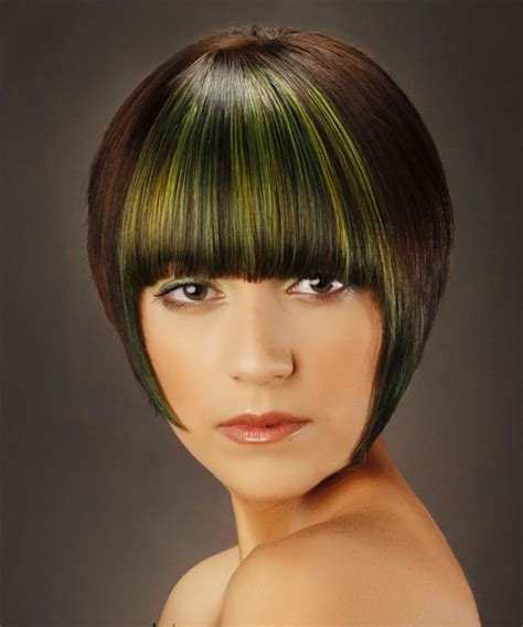 Short Straight Dark Brunette Bob Haircut with Blunt Cut