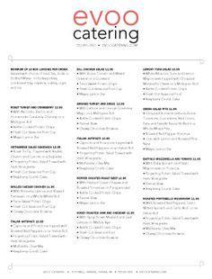 catering menu templates sample catering menu