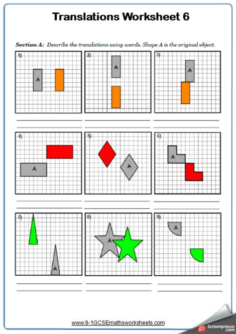 transformations worksheets cazoomy