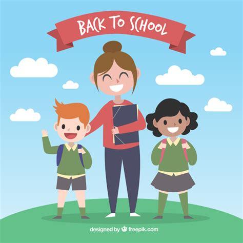 maestra con ninos y vectores gratis
