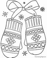 Coloring Winter Pages Mittens sketch template
