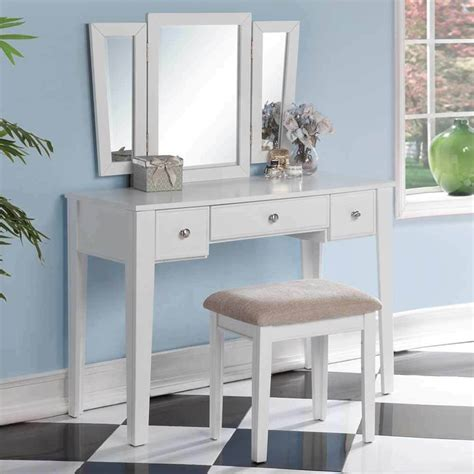 Makeup Vanity by Tri Folding Mirror Vanity Makeup Dresser Table Stool Bench