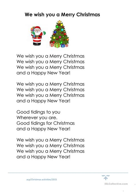 7 free esl we wish you a merry christmas worksheets