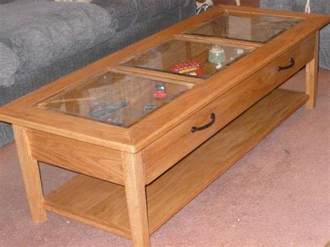 Collectors Display Top Coffee Table With Barrel Stave Legs