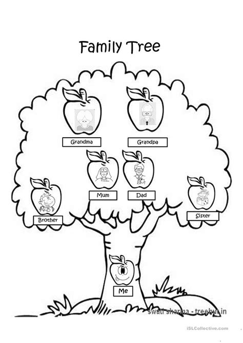 family tree coloring page worksheet  esl projectable