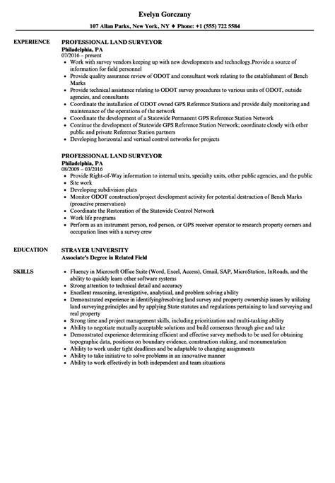 Cover Letter For Land Surveyor Resume by Professional Land Surveyor Resume Sles Velvet