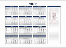 2019 Excel Calendar Project Timeline Free Printable