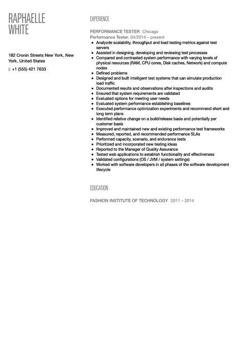 Performance Testing Resume Format by Performance Tester Resume Sle Velvet