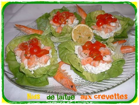 plat simple à cuisiner nids de laitue aux crevettes et fromage philadelphia pour