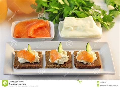 rye bread canapes canapes rye bread with ricotta cheese and smoked salmon stock image image 28954371