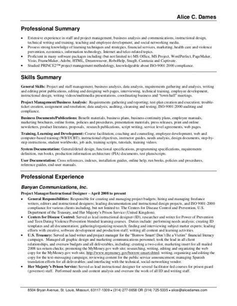 Exle Of Professional Overview For Resume by Customer Service Resume Summary Jvwithmenow