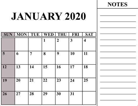 blank january calendar printable word excel