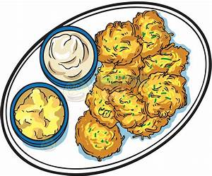 Potato Latkes With Apple Sauce And Sour Cream Clipart By