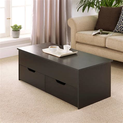 At first a compact table, this wood and white lacquer find can stretch its top 360 degrees. Black Wooden Coffee Table With Lift Up Top and 2 Large Storage Drawers Bruges   eBay